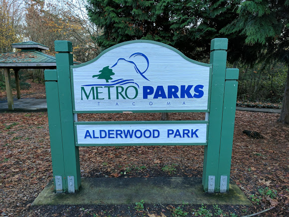 northeast tacoma metro parks alderwood park sign